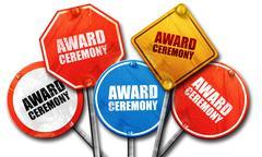 Award ceremony, 3D rendering, street signs Stock Illustration