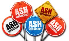 ash wednesday, 3D rendering, street signs - stock illustration