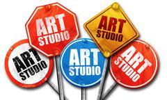 art studio, 3D rendering, street signs - stock illustration