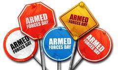 Armed forces day, 3D rendering, street signs Stock Illustration