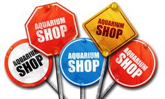 aquarium shop, 3D rendering, street signs - stock illustration