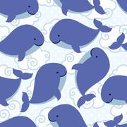 Seamless pattern with cute cartoon whale in clouds Stock Illustration