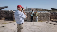 10-Senior Tourist Taking Souvenir Photo Family Vacations Cuba Steadicam Stock Footage
