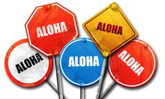 aloha, 3D rendering, street signs - stock illustration
