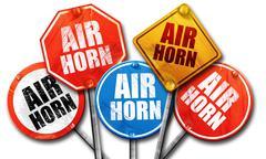Air horn, 3D rendering, street signs Stock Illustration