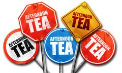 Afternoon tea, 3D rendering, street signs Stock Illustration