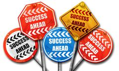 Success sign with smooth lines, 3D rendering, street signs Stock Illustration