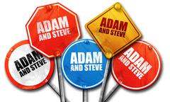 Adam and steve, 3D rendering, street signs Stock Illustration