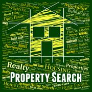 Property Search Representing Real Estate And Information - stock illustration