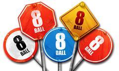 8 ball, 3D rendering, street signs - stock illustration
