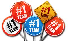 Number one team, 3D rendering, street signs Stock Illustration
