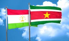 Tajikistan flag with Suriname flag, 3D rendering Stock Illustration