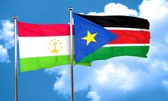 Tajikistan flag with South Sudan flag, 3D rendering Stock Illustration