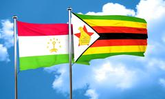 Tajikistan flag with Zimbabwe flag, 3D rendering - stock illustration