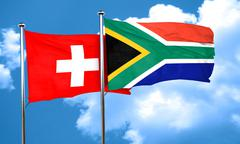 switzerland flag with South Africa flag, 3D rendering - stock illustration