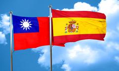 Taiwan flag with Spain flag, 3D rendering - stock illustration