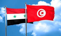 Syria flag with Tunisia flag, 3D rendering Stock Illustration