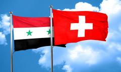 Syria flag with Switzerland flag, 3D rendering Stock Illustration