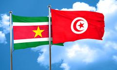 Suriname flag with Tunisia flag, 3D rendering - stock illustration