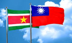 Suriname flag with Taiwan flag, 3D rendering Stock Illustration