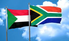 Sudan flag with South Africa flag, 3D rendering - stock illustration