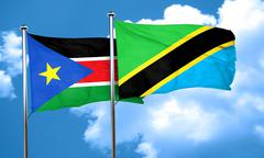South sudan flag with Tanzania flag, 3D rendering Stock Illustration