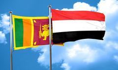 Sri lanka flag with Yemen flag, 3D rendering - stock illustration