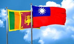 Sri lanka flag with Taiwan flag, 3D rendering - stock illustration