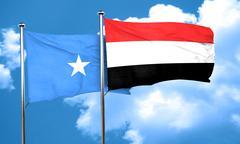 Somalia flag with Yemen flag, 3D rendering - stock illustration