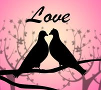 Love Doves Indicating Compassionate Loved And Heart - stock illustration