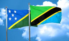 Solomon islands flag with Tanzania flag, 3D rendering Stock Illustration