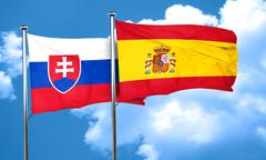 Slovakia flag with Spain flag, 3D rendering Stock Illustration