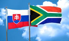 Slovakia flag with South Africa flag, 3D rendering - stock illustration