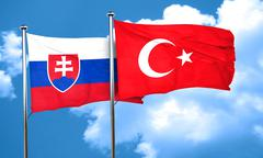 Slovakia flag with Turkey flag, 3D rendering Stock Illustration