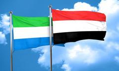 Sierra Leone flag with Yemen flag, 3D rendering - stock illustration