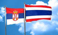 Serbia flag with Thailand flag, 3D rendering Stock Illustration