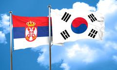 Serbia flag with South Korea flag, 3D rendering - stock illustration