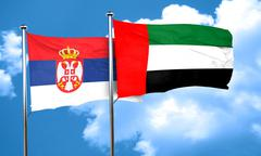 Serbia flag with UAE flag, 3D rendering - stock illustration