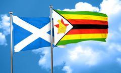 Scotland flag with Zimbabwe flag, 3D rendering Stock Illustration