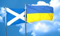 scotland flag with Ukraine flag, 3D rendering - stock illustration