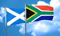 scotland flag with South Africa flag, 3D rendering - stock illustration