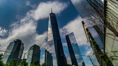 Low angle of One World Trade Center and modern buildings, New York, USA Stock Footage