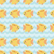 Seamless pattern with flock of cute cartoon smiling fishes Stock Illustration