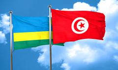 Rwanda flag with Tunisia flag, 3D rendering Stock Illustration