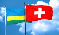 Rwanda flag with Switzerland flag, 3D rendering - stock illustration