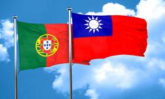 Portugal flag with Taiwan flag, 3D rendering Stock Illustration
