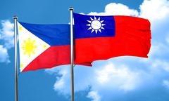 Philippines flag with Taiwan flag, 3D rendering - stock illustration