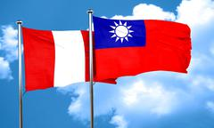 Peru flag with Taiwan flag, 3D rendering - stock illustration