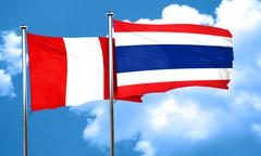 Peru flag with Thailand flag, 3D rendering - stock illustration
