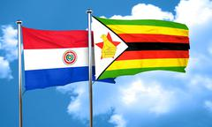 Paraguay flag with Zimbabwe flag, 3D rendering Stock Illustration